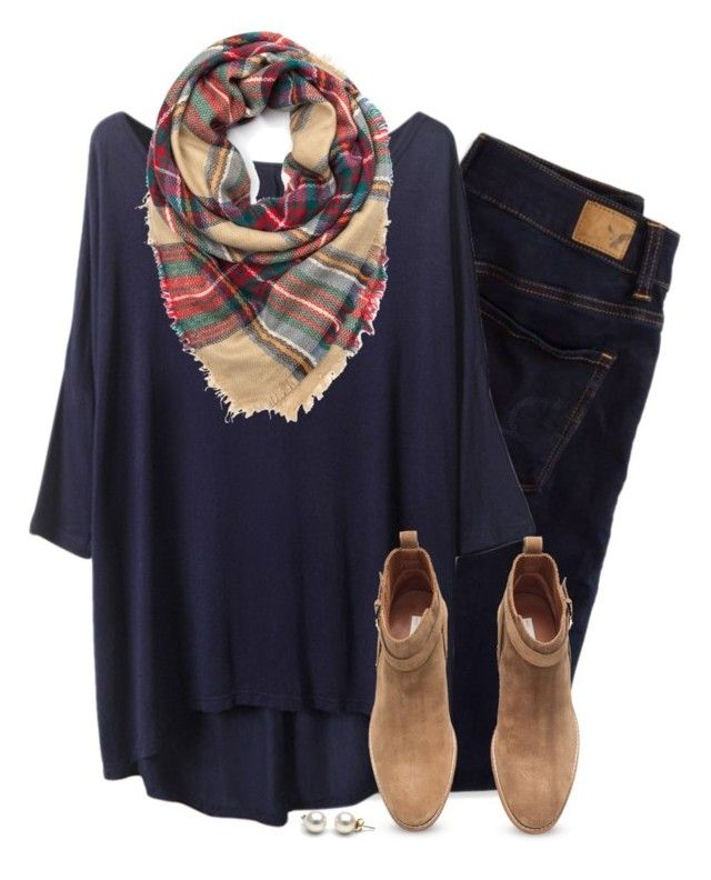 """Loose tee, plaid scarf & camel ankle boots"" by steffiestaffie ❤ liked on Polyvore featuring мода, American Eagle Outfitters и H&M"
