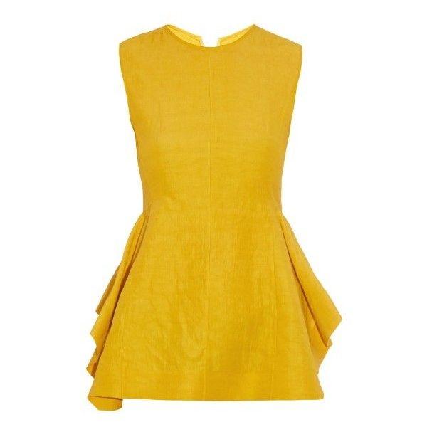 Marni Peplum washed-cloqué top ($543) ❤ liked on Polyvore featuring tops, dresses, shirts, vestido, yellow gold, open back shirts, zipper shirt, gold shirt, open back top und zip shirt