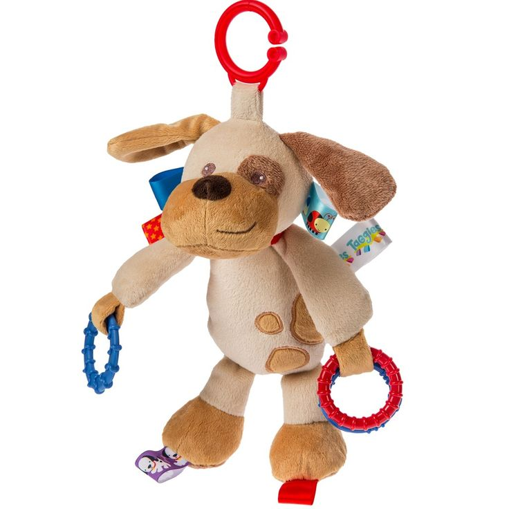 Buddy Dog Activity Toy, a cute interactive toy for little ones with a handy clip, can be attached to prams or car seats.