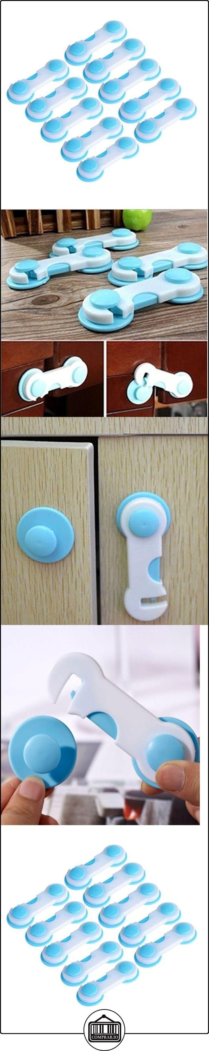 Interesting® Cubierta de 1 set Todder bebé niño niños puerta cajones armario gabinete seguridad plástico cerradura azul 10pcs  ✿ Seguridad para tu bebé - (Protege a tus hijos) ✿ ▬► Ver oferta: http://comprar.io/goto/B01MYPHX1U