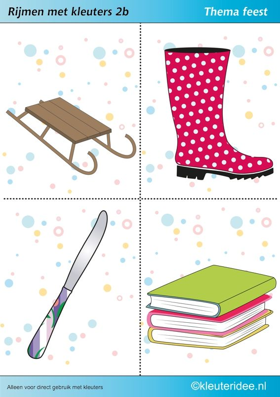 Rijmen met kleuters 2b, thema feest, te gebruiken voor kinderboekenweek 2014, juf Petra van kleuteridee, free printable.
