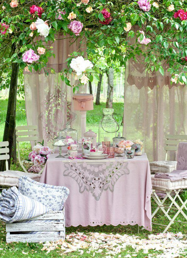 Beautiful Outdoor Ladies Tea With Lace Curtain Back Drop Hung From The  Surrounding Trees. A Climbing Rose In All Its Glory With Lovely Blooms For  All To ...