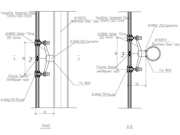 steel structure design with 300mm spider fitting