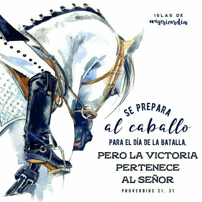 se prepara al caballo para el dia de la batalla pero la victoria pertenece al señor  proverbios 21 : 31