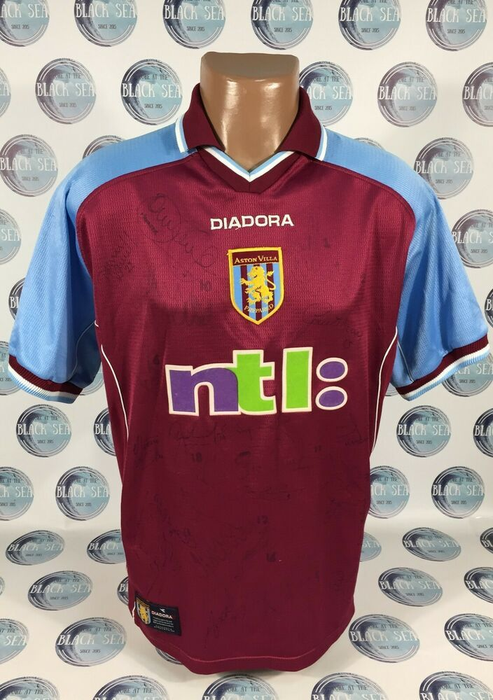 Aston Villa 2000 2001 Signed Home Football Soccer Shirt Jersey Trikot Men Diadora Astonvilla Soccer Shirts Football Soccer Football Shirts