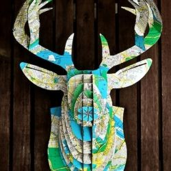 Projects with maps. I will never end up doing this.: Maps Deer, Cardboard Deer Head, Idea, Maps Crafts, Maps Projects, Animal Head, Old Maps, Deer Heads, Deerhead