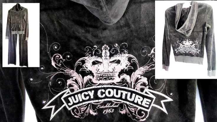Juicy Couture Women's Track Suit Size 6 Petite Gray & Pink Velour Crystals  #JuicyCouture #TrackSweatSuits