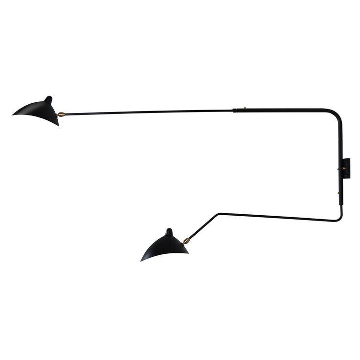 La lámpara Mouille proporciona un toque de elegancia único gracias a su diseño minimalista, de formas simples y materiales industriales. Está fabricada en acero al carbono y cobre. Se instala como aplique mural y los dos brazos son móviles. La lámpara Mouille está disponible en color negro o blanco, y también tenemos la versión de un sólo brazo. Funciona con 2 bombillas E27 de 60 W (no incluidas). Ambas se encienden y se apagan al mismo tiempo. No es posible encender sólo una bombilla…