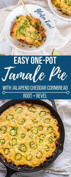Who doesn't love a one-pot meal? This easy Gluten Free Tamale Pie gets whipped up in a cast iron skillet, making for a deliciously rustic recipe. Made with fiber-packed beans and butternut squash, grass-fed ground beef, and chockfull of flavorful Mexican spices, this Southwestern baked casserole is topped with a sweet and spicy jalapeno cheddar cornbread crust. It's the perfect healthy, satisfying recipe for Thanksgiving (or any time of the year!).