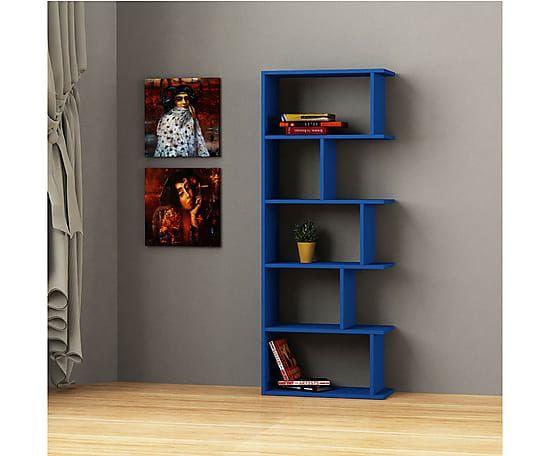 Книжный шкаф Tapi - ДСП - синий, 163x63x22 см