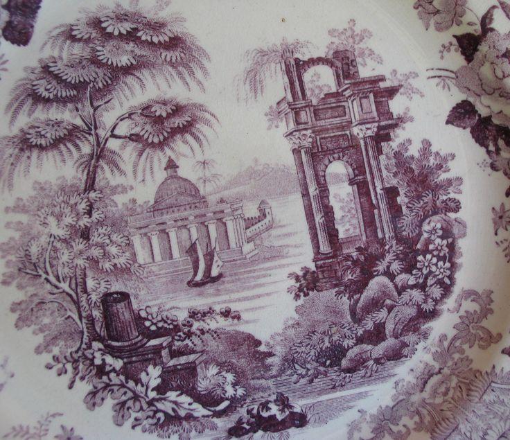 lavender purple toile transferware - photo #37