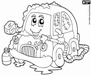 Omalovánka Malé auto v mytí aut