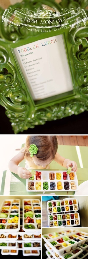 Smart  Cute - food in ice cube trays  Fun for toddler birthdays, picnics, etc.