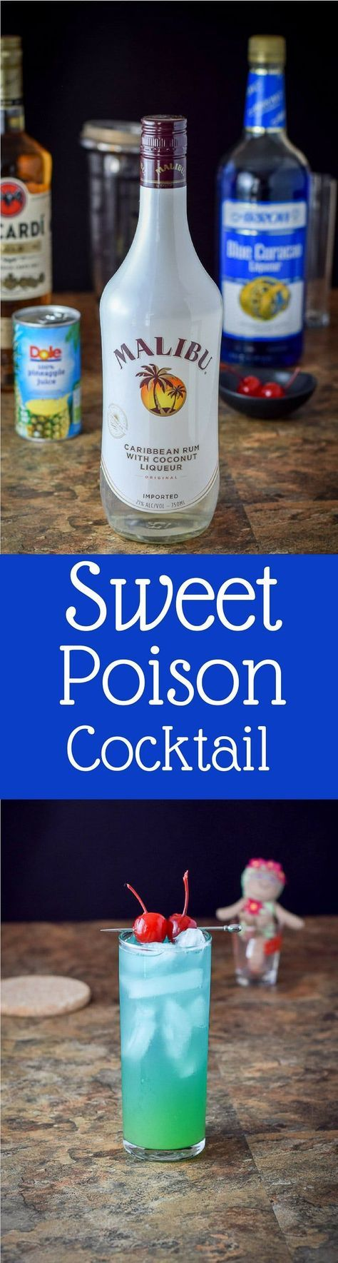 Aptly named sweet poison cocktail is dangerously delicious! Two types of rum, blue Curacao and some pineapple juice in this tropical cocktail. Make it by the glass unless you're with a group! https://ddel.co/swtpson via @dishesdelish
