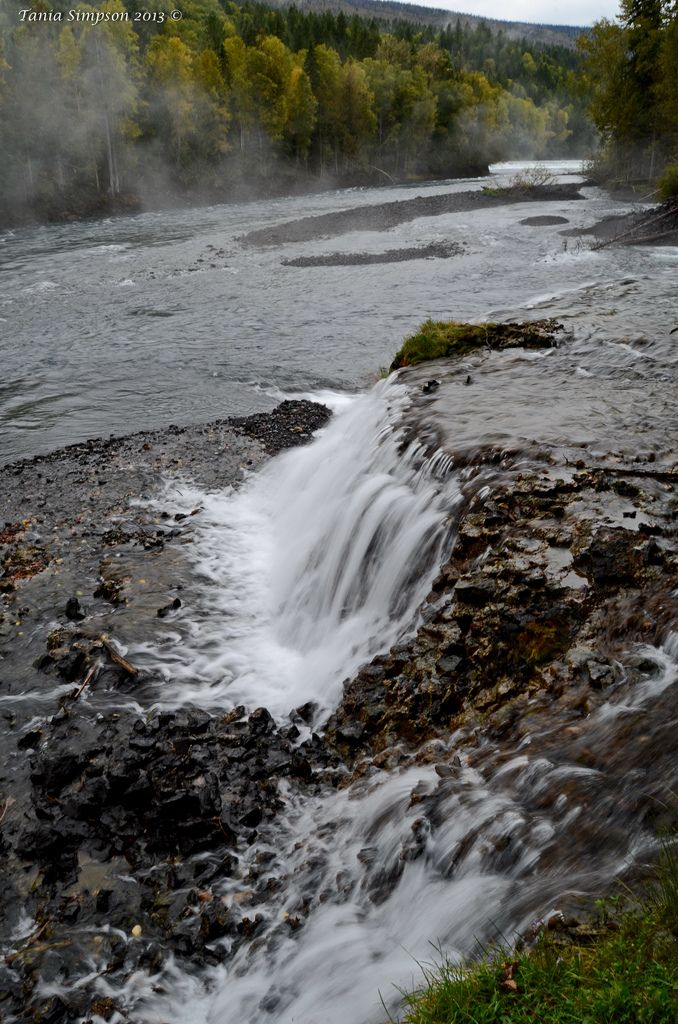 Wells Gray Provincial Park Clearwater, BC Osprey Falls form an inverted dam between Clearwater Lake and Clearwater River. It is an L-shaped falls over 500m (1,600ft) wide and is easily the widest of all BC waterfalls. At low water from August through April the drop is about 4m (13ft). An unusual feature of Osprey Falls, and unique for all BC waterfalls, is its penchant for disappearing. This feat is accomplished when the water volume in the Clearwater River is so high from melt water t...
