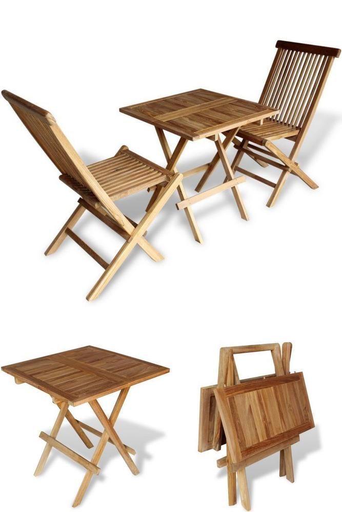 Wooden Balcony Bistro Set Folding Table 2 Chairs Seats Patio Dining Furniture Patio Dining Furniture Balcony Table And Chairs Outdoor Furniture Sets