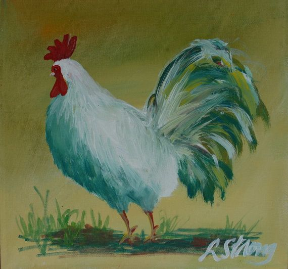 Clarence the Rooster 12 x 12.  Home Decor Country by LisaStrong, $40.00