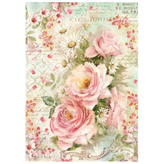Rice Paper Sheet Pink Christmas 33x49cm for Decoupage Craft