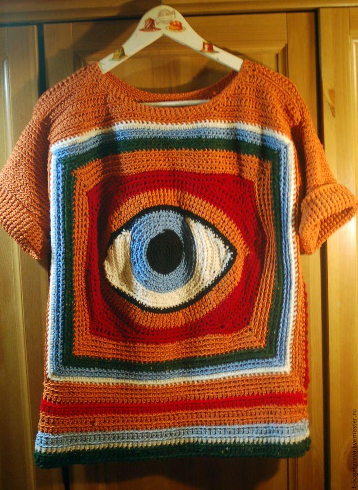 Купить свитер третий глаз - оранжевый, красный, кирпичный, голубой, белый, тёмно-зелёный, рисунок