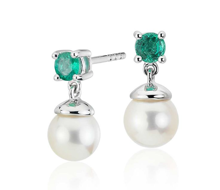 Freshwater Cultured Pearl and Emerald Drop Earrings in 14k White Gold (6-6.5mm)