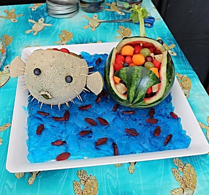 Cantaloupe puffer fish and watermelon whale :-)
