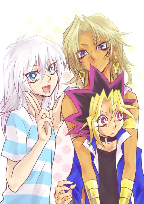 Ryou Bakura, Marik Ishtar, and Yugi Muto. The three hikaris.