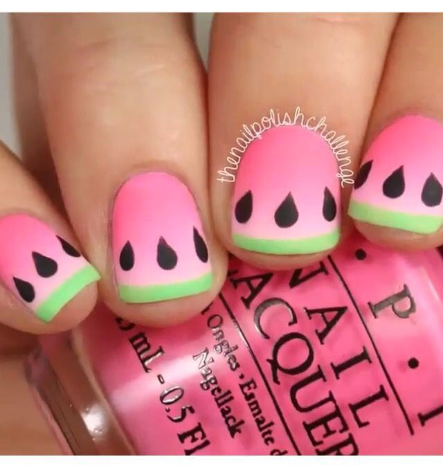 Awesome Watermelon Nails Are Just So Easy To Do At Home ❤ . Part 37
