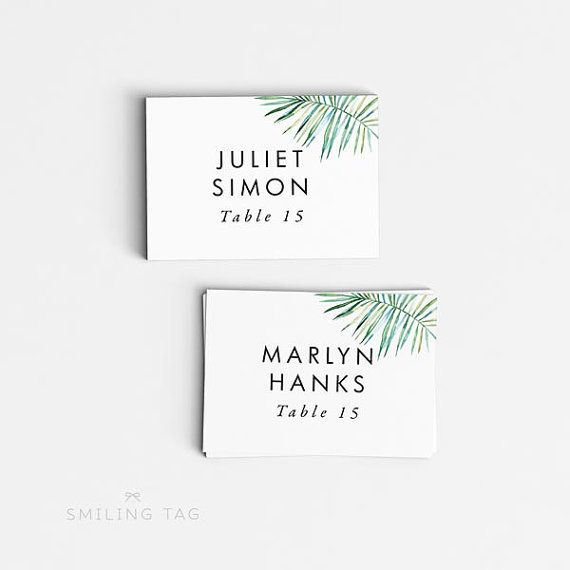 Printable Wedding Place Cards - Tropical Hawaii Destination Wedding Escort Cards - Tented or Flat Placecards - Table Setting Cards - Ready to Print PDF