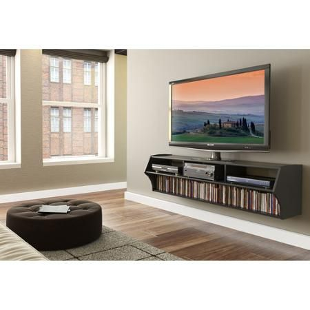 """Altus Plus Floating TV Stand for TVs up to 60"""" - We're already wall-mounting our TV, so why not? It'll open up more space, and no more smashed toesies, lol!"""