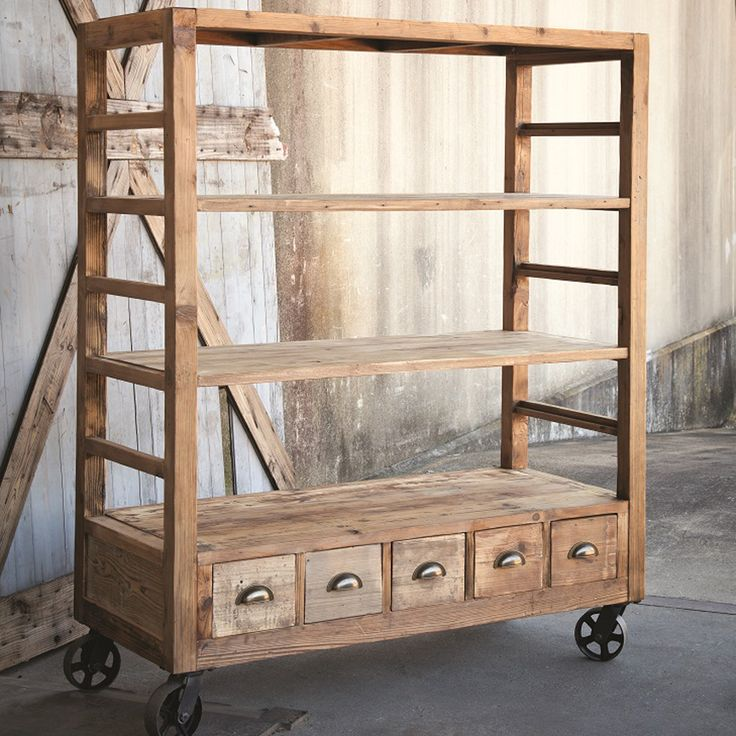 A wheels down mobile workhorse! Aged pine open air pantry, laundry room or workshop addition floats on factory wheels and features adjustable shelves and five cubby-style drawers with bin pull hardwar...