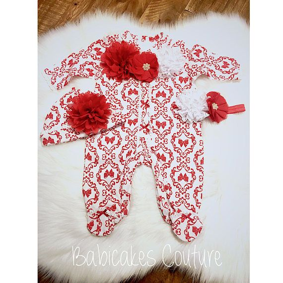 Baby's First Valentine Outfit Valentine Footed Baby