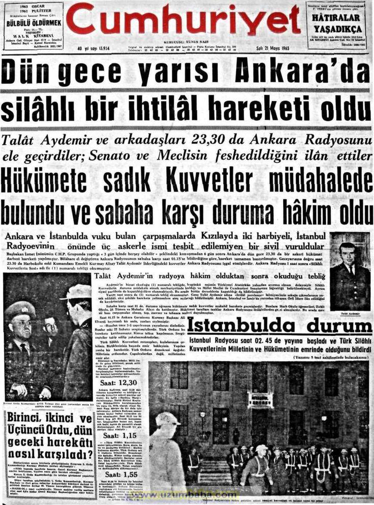 Cumhuriyet gazetesi 21 mayıs 1963