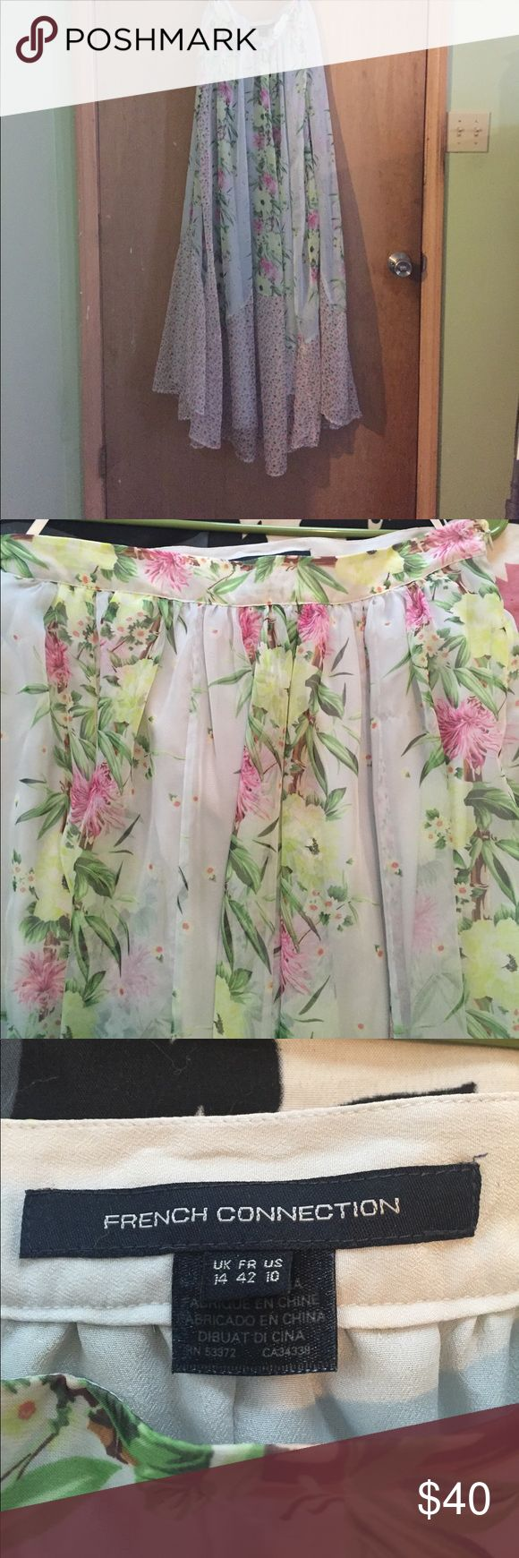 French Connection long maxi skirt Beautiful skirt, never worn.  Desert tropics a chiffon, fully lined in a pink and green floral pattern French Connection Skirts Maxi