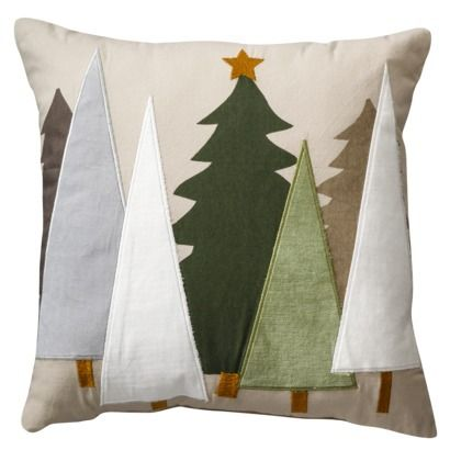 I would love to make this- with thread to blend in, or with chunky embroidery floss to outline. Threshold™ Felt Tree Toss Pillow - 18x18""