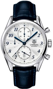 Tag Heuer Carrera Heritage Chronograph Automatic Blue Alligator Leather Mens Watch