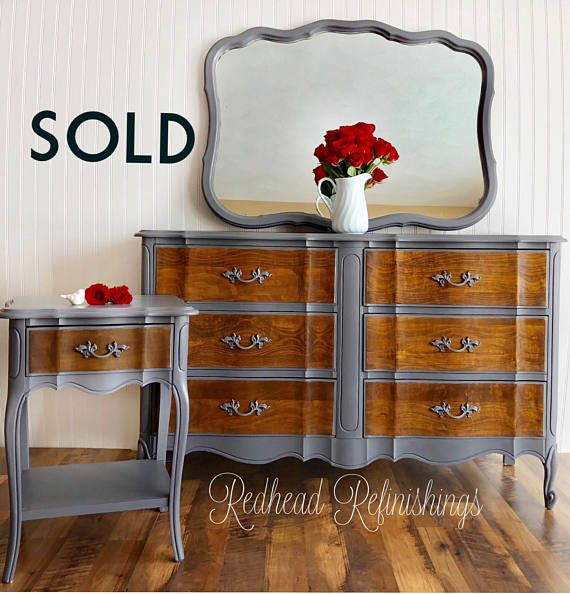 This item is sold and is an example of my work. If you'd like something similar please contact me and I'll try to locate and recreate this piece. This is a fabulous, vintage, Dixie brand, French provincial nightstand and dresser. Drawer fronts were hand sanded and stained an