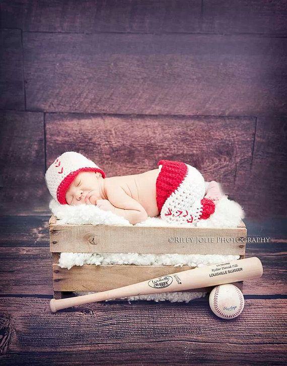 newborn baseball prop set, baseball hat, baby baseball set, crochet baseball set on Etsy, $32.00