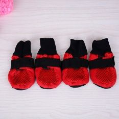 Waterproof Dog Shoes for Medium to Large Dogs Labrador Husky Shoes 4 Pcs Size S (Red)