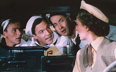 Frank Sinatra, Gene Kelly, Jules Munshin and Betty Garrett in On The Town