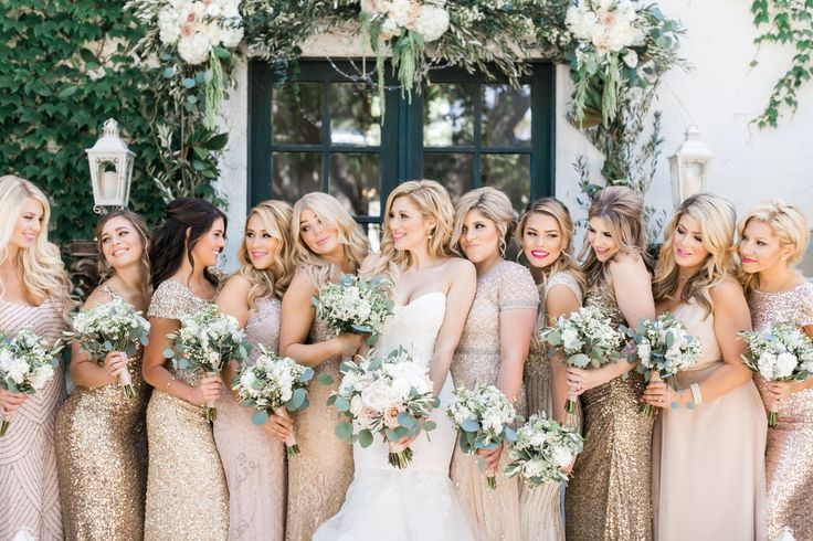 Bridal and bridesmaids bouquets. Blush and gold wedding at The Villa, San Juan Capistrano. Sequin bridesmaids dresses, Adrianna Papelle