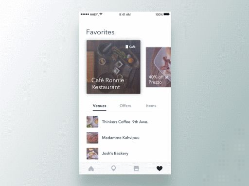 Swipe cards interaction (professional project)