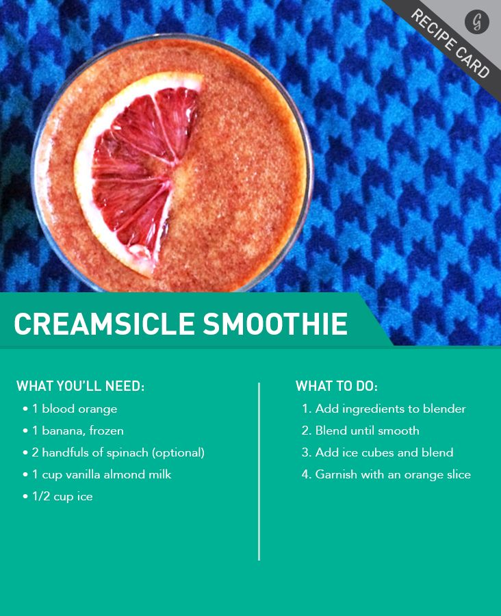 With a touch of almond milk, the smoothie becomes a frosty blend reminiscent of the Creamsicle of summers past—but don't worry, this one's super healthy.