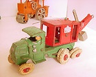1930s HUBLEY 10 CAST IRON GENERAL TRUCK MOUNTED CRANE TOY