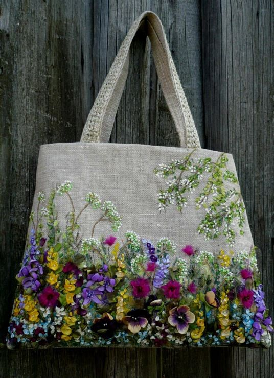 """A beautiful example of mixed embroidery techniques features crewel, ribbon and beading on this carry-all.""""LAVDIA"""""""