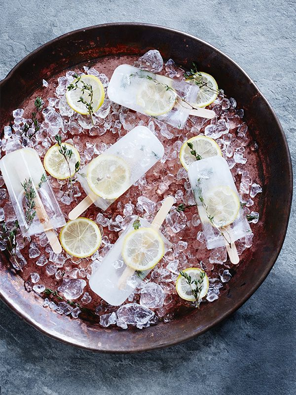 Thyme, elderflower & lemon ice lollies - These thyme, elderflower and lemon ice lollies are a great grown-up treat to help you cool down in the warmer months. You can make this into a cordial too, just reduce the water to 750ml and strain into sterilised jars.