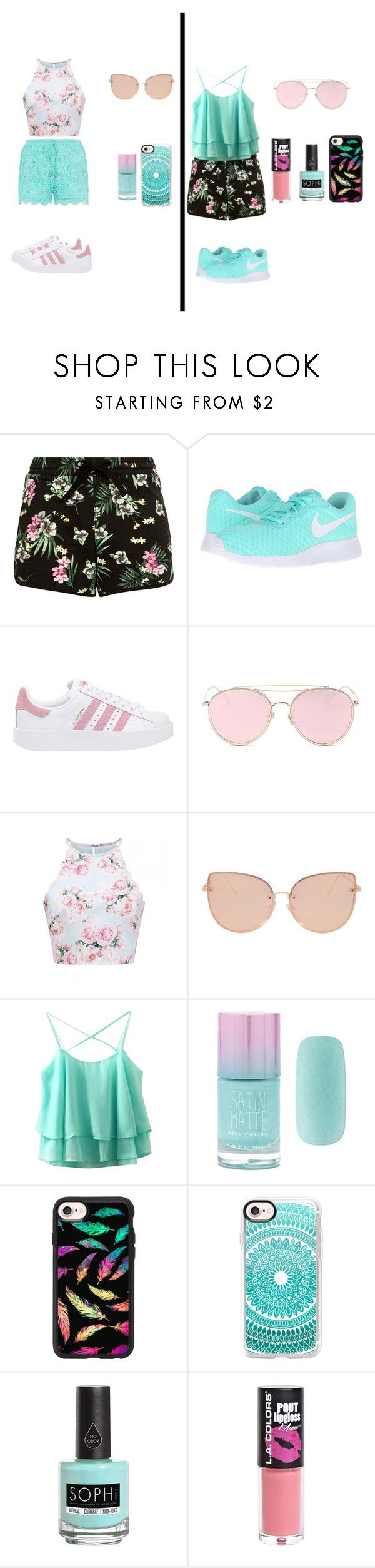 """Linda combinacion"" by noguerarosangel on Polyvore featuring moda, NIKE, adidas Originals, LMNT, Topshop, Forever 21, Casetify, Piggy Paint y L.A. Colors"