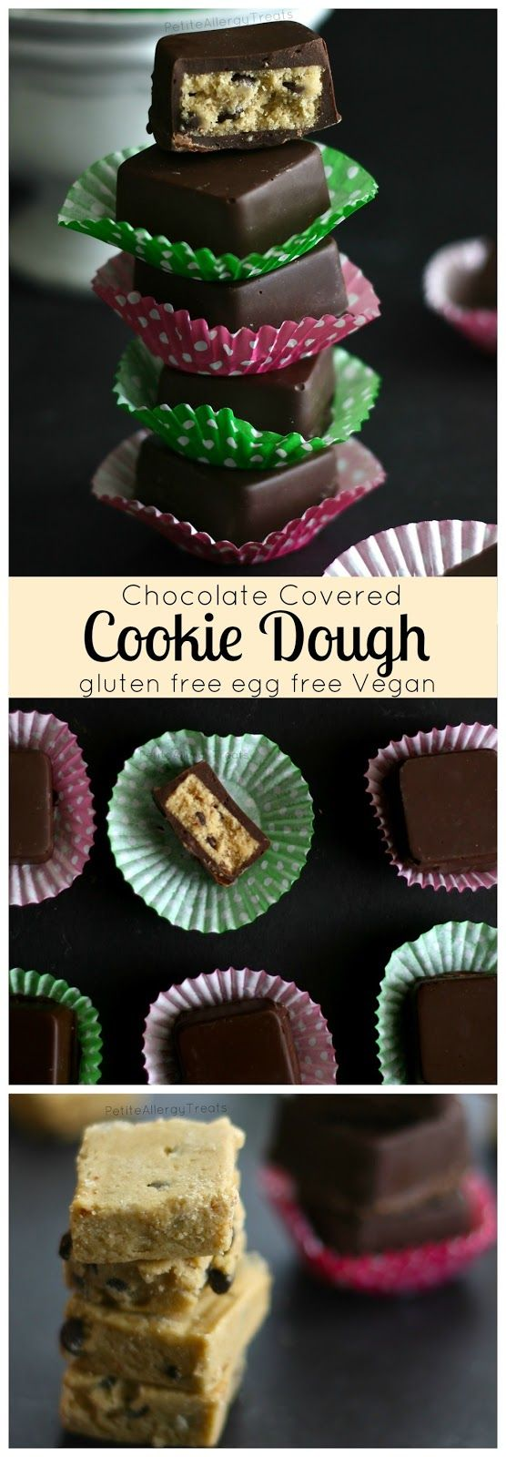 Cookie Dough Recipe Chocolate Squares (gluten free egg free Vegan) Raw eggless dairy free cookie dough dipped in chocolate for an extra sweet treat. allergen friendly.