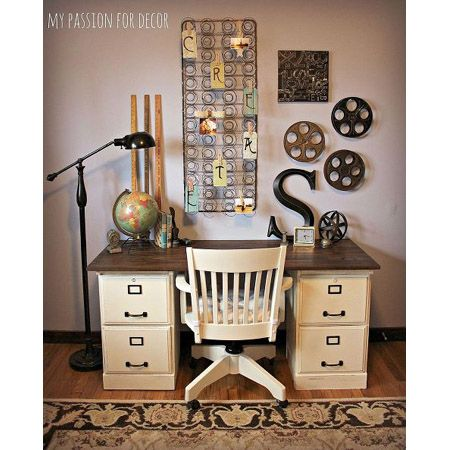 Fabulous Thrift Store Makeovers - The Cottage Market. Love the pottery Barn - inspired desk using file cabinets.