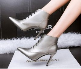 Cheapest Pumps European Sexy Fashion Show Thin High-Heeled Shoes Heel Strap Grey