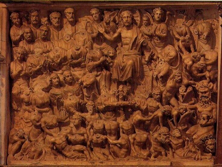 Juicio final Nicola Pisano en el púlpito del baptisterio de Pisa (1260 aprox)
